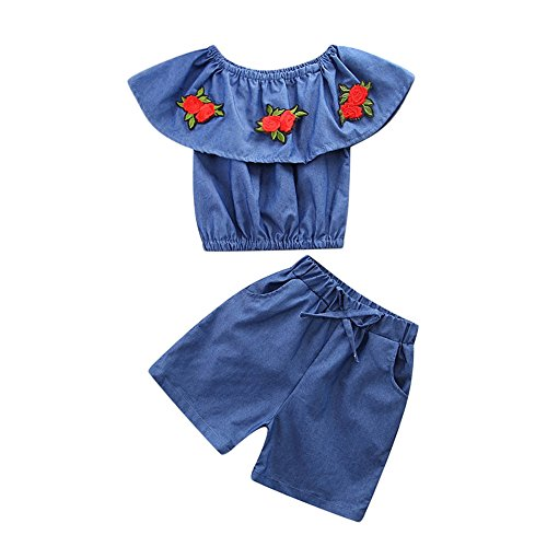 Baby Body Kinderkleidung Jungen Mädchen, YanHoo Kleinkind Kinder Baby Mädchen Outfits Kleidung Denim Schulterfreies Hemd Tops + Shorts Mädchen Denim Schulter 2 Stück (80, Blau-1)