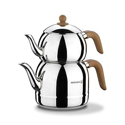 korkmaz 18/10 Stainless Steel Turkish Teapot - 3.6 lt. Capacity