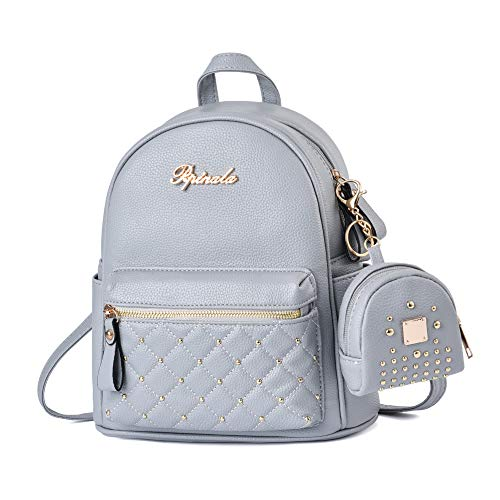 Cute Small Backpack Mini Purse Casual Daypacks Leather for Teen and Women Gray