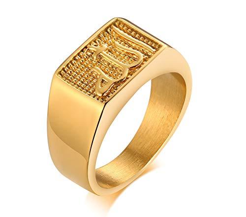 VNOX Chapado en Oro Acero Inoxidable Árabe Islámico Musulmán Alá Sello Sello Anillo Anillo Joyería Religiosa Regalo Religioso para Hombres