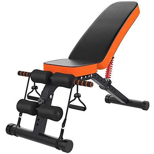 DSHUJC Banc Sit-up, Planche couchée intérieure Banc d haltères Multifonctionnel pour abdominaux Banc d entraînement réglable à 8 Vitesses, Orange