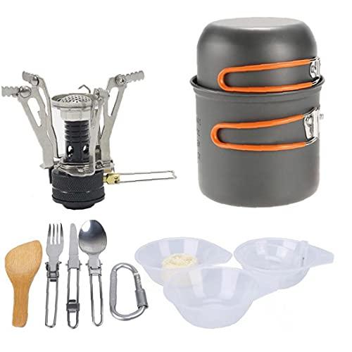 Utensilios De Cocina De Camping Cuenco Pan Pot Vajilla Gas Cocción Combinada Cocina De Sistema Portable Al Aire Libre Cocina De Gas Quemadores con Mochila