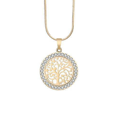Ouran Fashion Women's Choker Necklace,Celtic Tree of Life Pendant Necklace for Girls Chain Coat Necklace with CZ Crystal Shining Rhinestone Necklace (Gold Plated)
