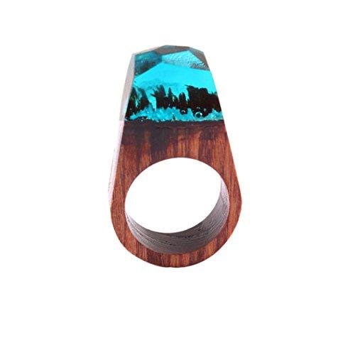 Ring, HUIHUI 19mm VHandgemachter hölzerner Harz-Ring mit ausgezeichneter fantastischer geheimer Landschaft, Über Knuckle Blue Rings (D)