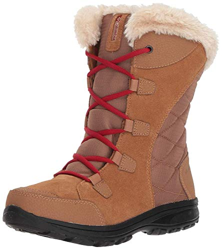 Columbia Women's ICE Maiden Ii Snow Boot, elk, red velvet, 9 Regular US
