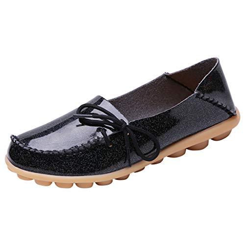 Deloito Damen Mode Freizeit Schnürschuhe Gemütlich Schlüpfen Einzelne Schuhe Runder Zeh Faultier Schuhe Flache Mokassins Espadrilles Schuhe (Schwarz,35.5 EU)