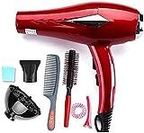 Secador de pelo Doir engancha secador de pelo jsmhh Salón Secador de pelo profesional, Negativo viaje secador de pelo iónico, la peluquería Spree plana, con 3 Calentar 2 velocidad, temperatura ,Rojo