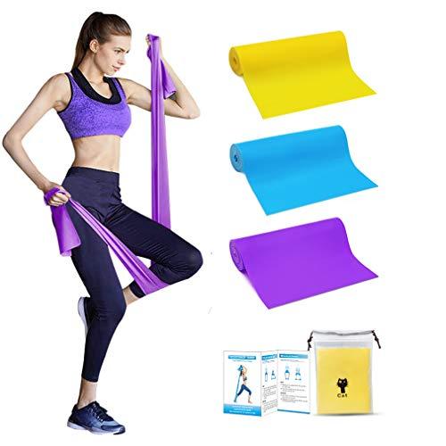 Elastici Fitness - Bande Elastiche Fitness 1.5m (Set di 3) con 3 Livelli di Resistenza, Fasce Elastiche fitness Ideale per Pilates, yoga, Riabilitazione, Allenamento di Forza e Flessibilità