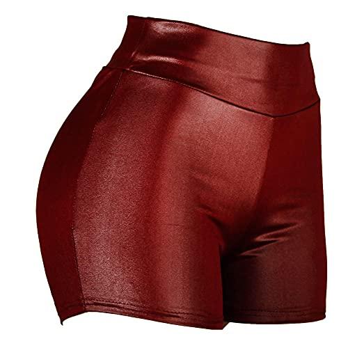 Pantalones Cortos Mujer Mini Pantalones Cortos De Cintura Caliente De Las Mujeres Femme Sexy Slim Poliéster Sólido Pantalones Cortos De Moda Elástico Push Up Sport Racing Shorts Shorts Shorts-Rojo Os