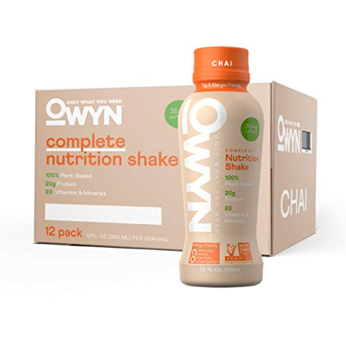 OWYN - 100% Vegan Plant-Based Meal Replacement Shakes | Chai, 12 Fl Oz (Pack of 12) | Dairy-Free, Gluten-Free, Soy-Free, Tree Nut-Free, Egg-Free, Allergy-Free, Vegetarian