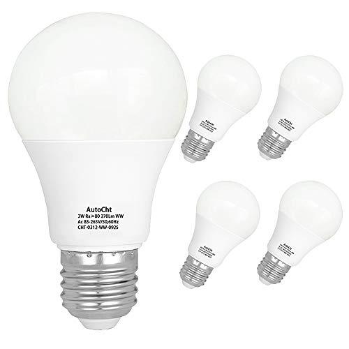 Lampadina LED Equivalente 25W Attacco E27 3W Forma A50 3000K Luce Bianca Calda, 270Lm, Risparmio Energetico, Confezione da 5 Unità