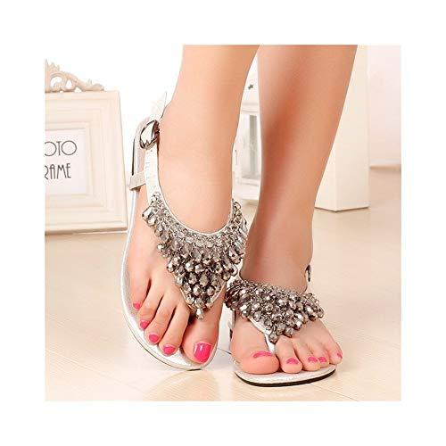 QYXJJ QLBF Sandalias de Verano para Mujer Casual Cómodas Sandalias for Las Mujeres cómodo Sandalias de Plataforma en la Playa del Verano Viajes Zapatos de Las Mujeres del Rhinestone Cristal colga