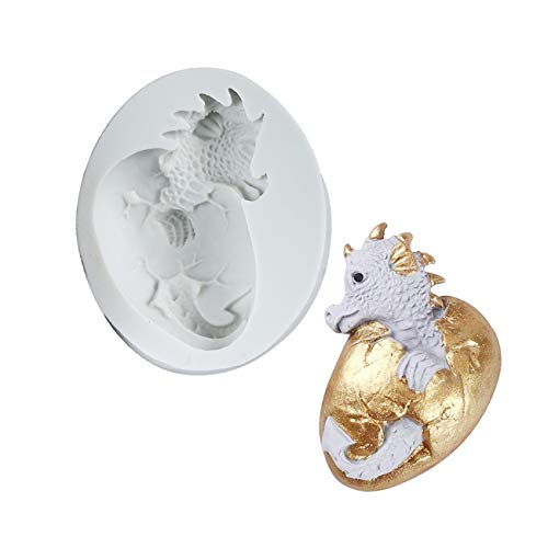 G.G.W 1PCS Fire Dragon Egg Baby Dragon Cup Cake Decorating Mould for Soaps Candy Chocolate Gummies Clay Making Cake Molds Baking Molds Kitchen Accessories Tools