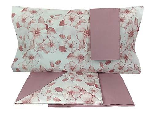Maestri Cotonieri - Juego de sábanas para cama de matrimonio de 2 plazas, de algodón con 4 fundas de almohada de color rosa