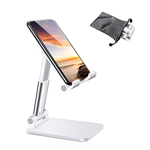 airtrot Portable Cell Phone Stand for Desk, Full Foldable Phone Holder with Adjustable Height and Angle Sturdy and Compatible with All Phones, Switch and Tablets (Smaller Than 9.7 inch), White
