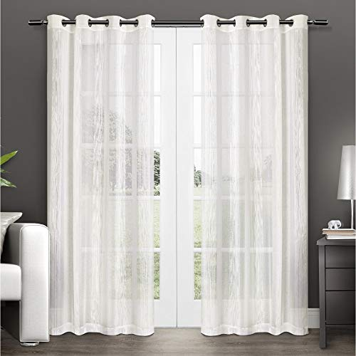Exclusive Home Penny Window Curtain Panel Pair with Grommet Top, 50x96, Off-white, 2 Count