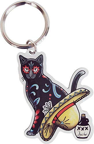 Cali's, Pretty In Ink Gato Con Sombrero, Officially Licensed Artwork - Metal Keychain