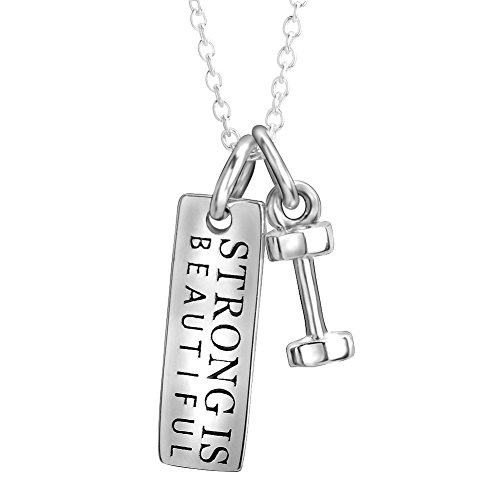 YFN Sterling Silver Strong is Beautiful Engraved Dumbbell Barbell Gym Buff Pendant Necklace 18'