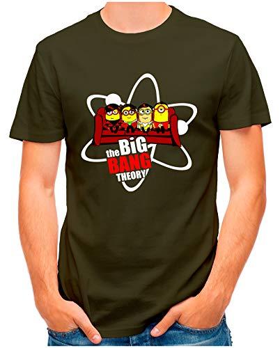 OM3® - Big-Bang-Minions-Sofa - T-Shirt   Herren   Banana TBBT Parody Printshirt   Oliv, 4XL