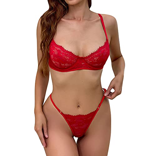 Lenfeshing Conjunto de 2 Piezas de Lencera Sexy Transparente de Encaje Rojo para Mujer Sujetador con Anillo de Acero + Tanga de Tiras
