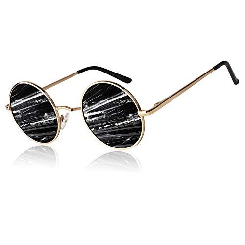 LINVO Retro Round Circle John Lennon Polarized Sunglasses Hippie for Men Women