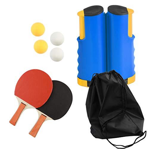 JUSTDOLIFE Ping Pong Set, Racchetta da Ping Pong, Rete Retrattile da Ping Pong Portatile Ideale per Tavolo da Ping Pong, attività All'aperto al Coperto, Scrivania, Cucina o Tavolo da Pranzo