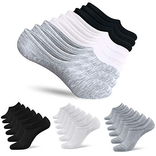 Stylevia Calcetines deportivos para mujer y hombre, invisibles, cortos, 10 – 12 pares, grandes, para mujer, chica, hombre, calcetines de algodón, talla 35 – 44 Blanco XL