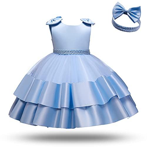 TTYAOVO Niña Tul Fiesta de Cumpleaños Princesa Vestir Inclinarse Vestido de Bola Talla (80) 6-12 Meses 739 Azul