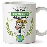 Mugffins Insegnante. Professoressa Tazze Originali di caffè e Colazione da Regalare Lavoratori e Professionisti - Migliore Insegnante del Mondo - Ceramica 350 ml