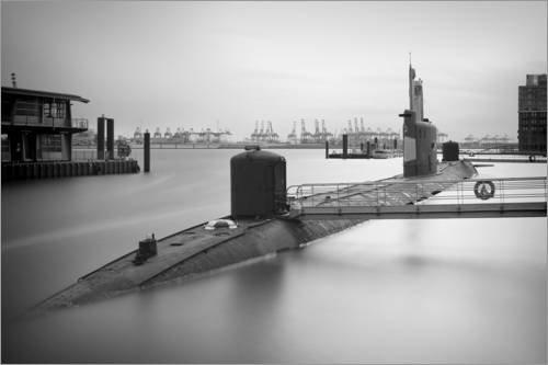 Posterlounge Leinwandbild 130 x 90 cm: U-Boot Hamburger Hafen von Sabine Wagner - fertiges Wandbild, Bild auf Keilrahmen, Fertigbild auf echter Leinwand, Leinwanddruck