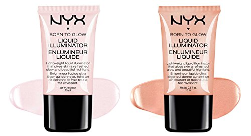 "2 NYX Born To Glow Liquid illuminator Full Set ""LI 01 & LI 02"""
