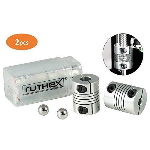 ruthex 3D Drucker Kupplung 5x8mm V2 [2 Stück] mit 2 Ausrichtkugeln | flexible NEMA Wellenkupplung | rutschfeste Klemmverschraubung | für Anycubic i3 Mega | Creality Ender 3 | CR-10 | Sidewinder X1