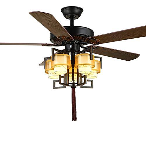 Luz de ventilador de techo retro Luz de techo con ventiladores LED regulable con mando a distancia 5 Hoja de madera Silencio luz de techo Ventilador de Sala Comedor Luz del ventilador de techo