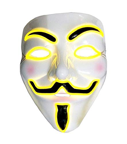 EVRYLON Máscara para Vendetta Unisex Carnaval Amarillo Brillante led v per Vendetta Anonymous