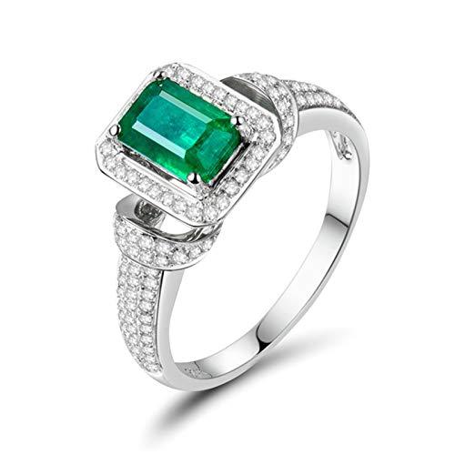 Daesar Anillos Mujer Oro Blanco 18K,Rectángulo Esmeralda Verde 1.25ct Diamante 0.51ct,Plata Verde Talla 13,5
