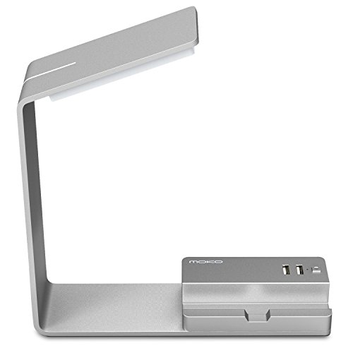 MoKo LED Desk Lamp, Aluminum Eye-Caring Table Lamp with 2 USB Charging Ports for Apple iPhone, iPad Tablets, Samsung Android Smartphones - Space Gray