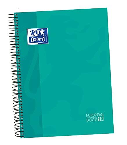 Oxford - Cuaderno microperforado 10 bandas color, Europeanbook 10, tapa dura, A4, 150 hojas, cuadrícula 5 x 5, color ice mint