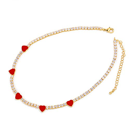 qwertyuio Collares para Mujer Collar De Corazón Rojo Arcoíris Colgante para Mujer Cristal Oro Micro Pave Gargantillas Collares Circonita Cúbica Regalo Goldredheart