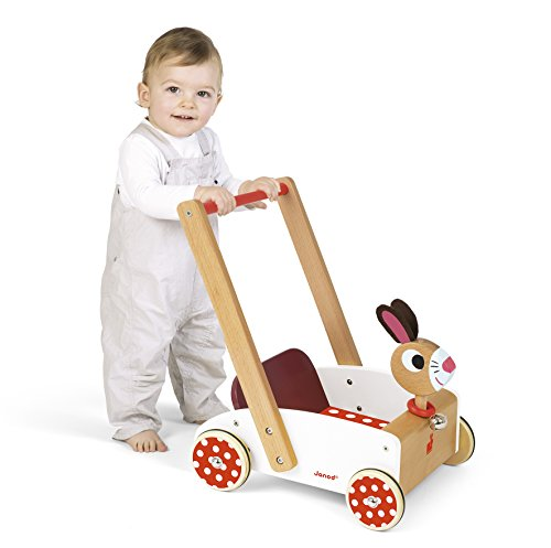 Janod - Chariot de Marche Enfant en Bois Lapin Crazy Rabbit - Dès 1 An, J05997, Blanc et Rouge