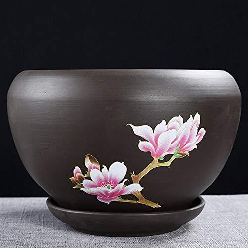 WXQIANG Céramique Sable Violet Flower Pot spécial Grand Extra Large avec plateau vert Bonsai Accueil Orchidée Viande petite fleur en pot Bureau décorative d'intérieur Pot de fleurs Décorations de jard