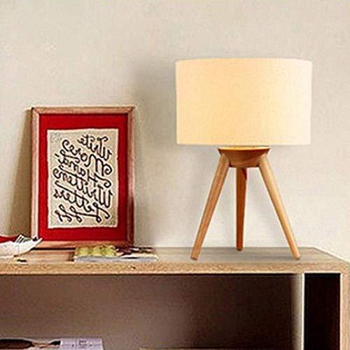 N/Z Equipo para el hogar Dormitorio Minimalista Moderno Lámpara de Noche Lámpara de Noche Trípode Cubierta de Tela de Lino de Madera Lámpara de Mesa de Madera 28CM * 42CM (Color: Blanco)