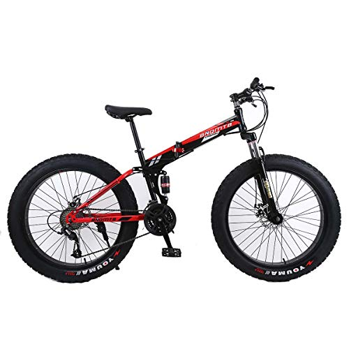 Dapang 26' Alloy Folding Mountain Bike 27 Speed Dual Suspension 4.0Inch Fat Tire Bicycle Can Cycling On Snow,Mountains,Roads,Beaches,Etc,6