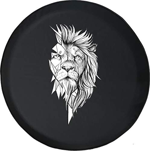 556 Gear Geometric African Lion Tattoo Style Spare Tire Cover Black Size 32 Inch