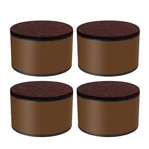 4PCS Bed Riser Heavy Duty Carbon Steel Möbel Riser für Sofa couc Tisch und Stuhl Riser,Round Brown,8x8x5.2cm