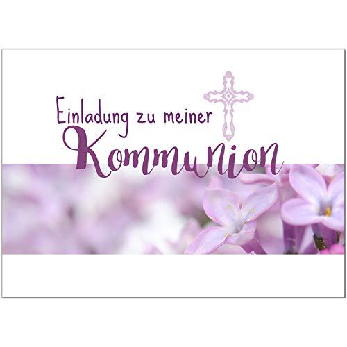 15 x Einladungskarten Kommunion mit Umschlag/Einladung für Mädchen mit rosa Blüten/Kommunionskarten/Einladungen zur Feier