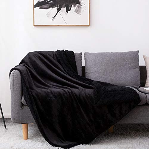 BEDELITE Sherpa Fleece Blanket Twin Size Black Throw Blankets for Couch Bed Super Soft Plush product image