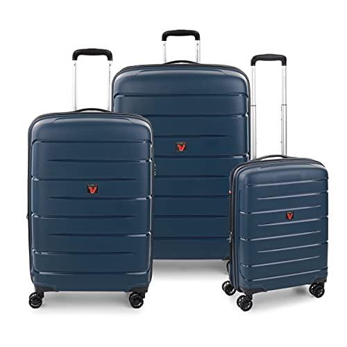 RONCATO Flight DLX Set 3 maletas rígidas ampliables 4 ruedas con TSA Azul noche