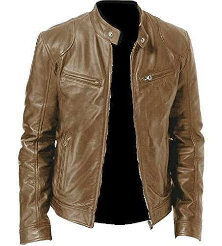 Café Racer - Chaqueta de piel para hombre, color negro, marrón y rojo