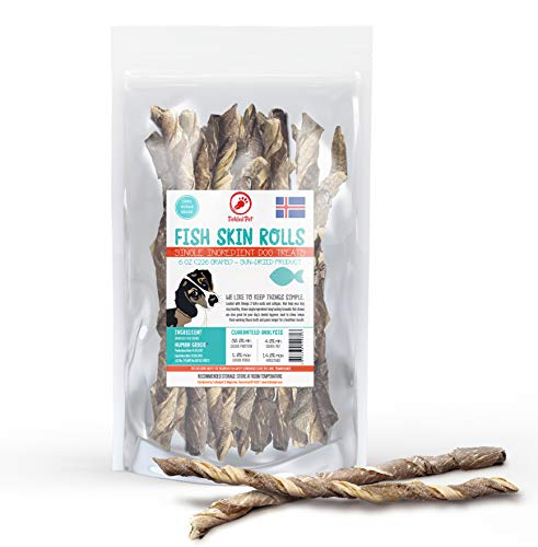 TickledPet Fish Skin Dog Treats - Icelandic Wild Caught Cod - Single Ingredient Grain Free Chews