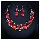 ZCPCS Americana Cristal GEM contra Collar de joyería Anillo de Oreja Juego de Joyas Novia Banquete Accesorios Femeninos (Color : Red)